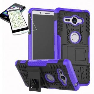 Hybrid Case 2 teilig Lila für Sony Xperia XZ2 Compact + 0, 26 H9 Glas Tasche Neu