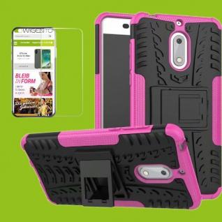 Für Nokia 3.1 5.2 Zoll Hybrid Tasche Outdoor 2teilig Pink Hülle + H9 Glas Schutz