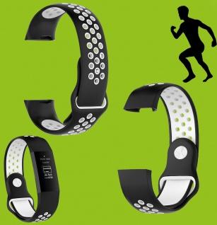 Für Fitbit Charge 3 Kunststoff Silikon Armband für Männer Größe L Schwarz-Weiß