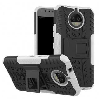 Hybrid Case 2teilig Outdoor Weiß Tasche Hülle für Motorola Moto G5S Plus Etui