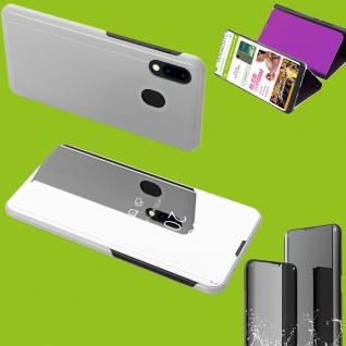 Für Samsung Galaxy M20 6.3 Clear View Smart Cover Silber Tasche Hülle Wake UP