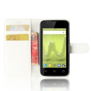 Tasche Wallet Premium Weiß für Wiko Sunny 2 Hülle Case Cover Etui Schutz Zubehör - Vorschau 5