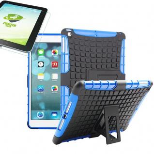 Für Apple iPad 9.7 2018 Hybrid Outdoor Schutzhülle Blau Tasche 0.4 H9 Glas Hülle