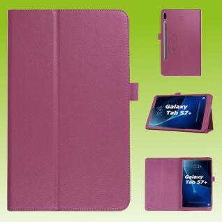 Für Samsung Galaxy Tab S7 Plus / S7 FE Lila Kunst Leder Hülle Tablet Tasche Etuis Cover