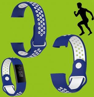 Für Fitbit Charge 3 Kunststoff Silikon Armband für Frauen Größe S Blau-Weiß Uhr