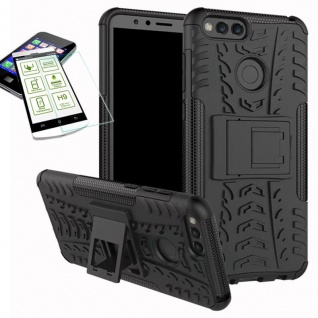 Hybrid Case Tasche Outdoor 2teilig Schwarz für Huawei Honor 7X Hülle Hartglas