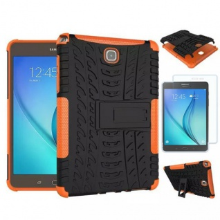 Hybrid Outdoor Tasche Orange für Samsung Galaxy Tab A 9.7 T550 + 0.4 Hartglas