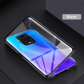Beidseitige Magnet Glas Bumper Handy Tasche Schwarz für Xiaomi Redmi Note 9S Neu