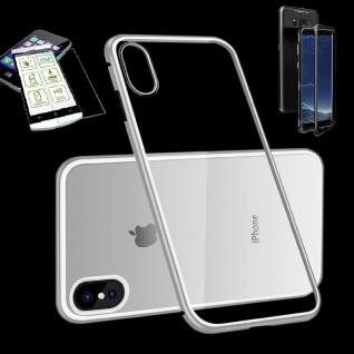 Für Apple iPhone X / XS 5.8 Magnet Glas Tasche Silber / Transparent + H9 Glas
