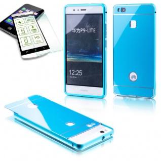Alu Bumper 2 teilig Blau + 0, 3 H9 Panzerglas für Huawei P9 Lite Tasche Hülle Neu