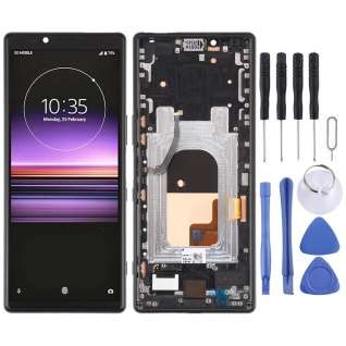 Für Sony Xperia 1 Display Full LCD Einheit mit Rahmen Touch Ersatzteil Schwarz