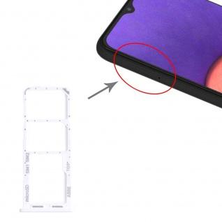 Dual Sim Karten + Micro SD Halter Card Tray für Samsung Galaxy A22 Silber