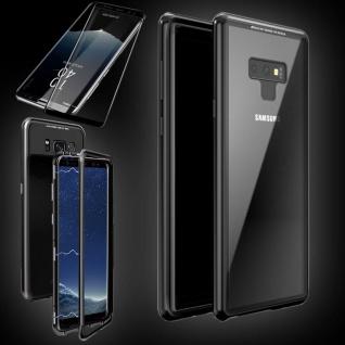Für Samsung Galaxy Note 9 Magnet Tasche Transparent Schwarz + 0, 3 4D H9 Glas Neu