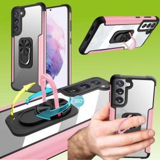 Für Samsung Galaxy S21 FE Pink Schock Hybrid PC +TPU + Metal Tasche Hülle Etuis