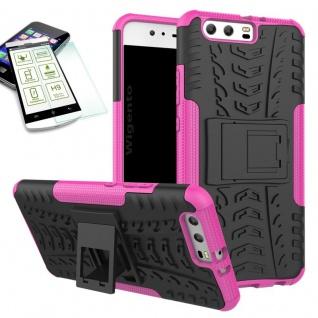 Hybrid Case Tasche Outdoor 2teilig Pink für Huawei P10 Hülle + Hartglas Etui