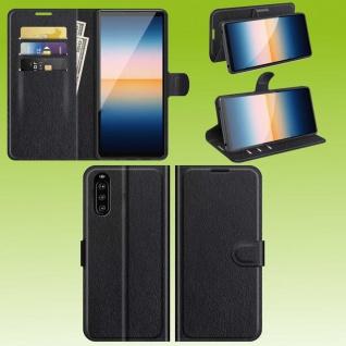 Für Sony Xperia 10 III 3. Gen Handy Tasche Schwarz Etuis Kunst-Leder Cover Hülle
