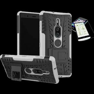 Für Sony Xperia XZ2 Premium Hybrid Case 2 teilig Weiß Hülle + H9 Glas Tasche Neu