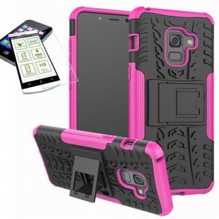 Hybrid Case Tasche 2teilig Pink für Samsung Galaxy A8 A530F 2018 + H9 Glas Hülle