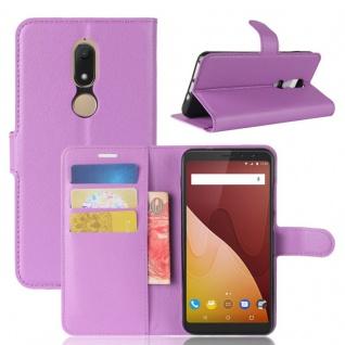 Tasche Wallet Premium Lila für Wiko View Prime Hülle Case Cover Etui Schutz Neu