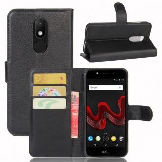Tasche Wallet Premium Schwarz für Wiko Wim Lite Hülle Case Cover Etui Schutz Neu