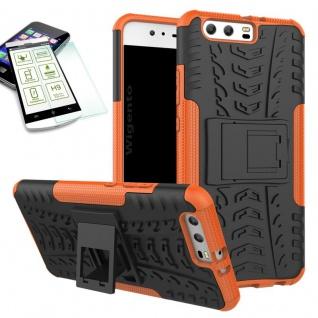 Hybrid Case Tasche Outdoor 2teilig Orange für Huawei P10 Hülle + Hartglas Etui