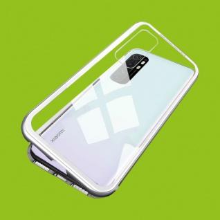 Für Xiaomi Mi Note 10 Lite Magnet Metall Glas Silber Handy Tasche Hülle Case Neu