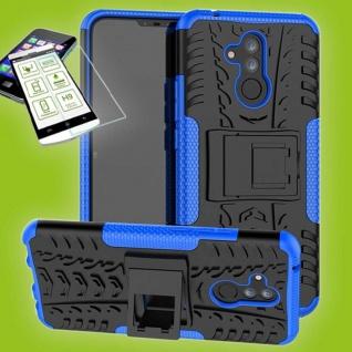 Für Huawei Mate 20 Lite Hybrid Tasche Outdoor 2teilig Blau Hülle + H9 Glas Case