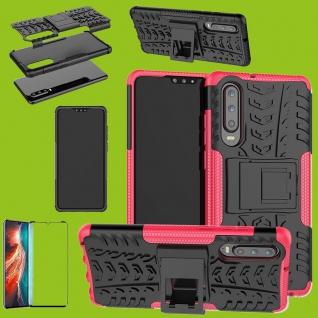 Für Huawei P30 Hybrid Tasche Etuis 2teilig Pink Hülle + 4D Curved H9 Glas Cover