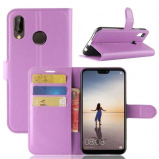 Tasche Wallet Premium Lila für Huawei P20 Lite Hülle Case Cover Schutz Schale