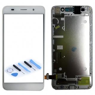 Ersatz Full Display LCD mit Rahmen Komplett für Huawei Y6 Weiß Reparatur Frame