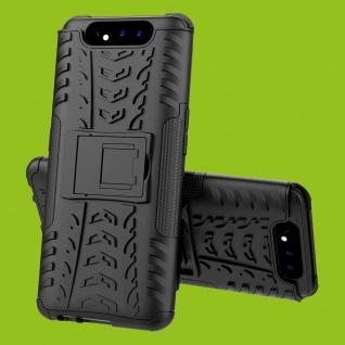 Für Samsung Galaxy A80 Hybrid Case 2teilig Outdoor Schwarz Tasche Etuis Cover