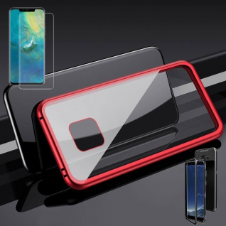 Für Huawei Mate 20 Pro Magnet Glas Tasche Rot / Transparent + 0, 3 4D H9 Glas Neu