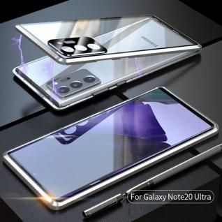 Beidseitige Magnet Bumper Handy Tasche Silber für Samsung Galaxy Note 20 Ultra
