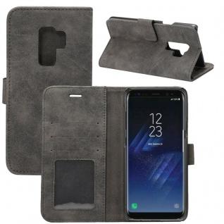 Deluxe Retro Tasche Wallet Schwarz für Samsung Galaxy S9 Plus G965F Hülle Case
