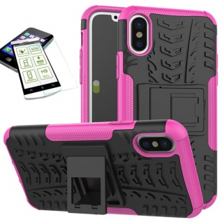 Für Apple iPhone XR 6.1 Hybrid Case 2teilig Pink + Hart Glas Tasche Hülle Cover