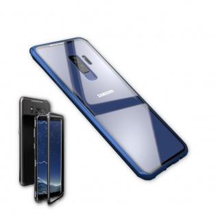 Für Samsung Galaxy S9 Magnet / Metall / Glas Blau / Transparent Tasche Hülle Neu