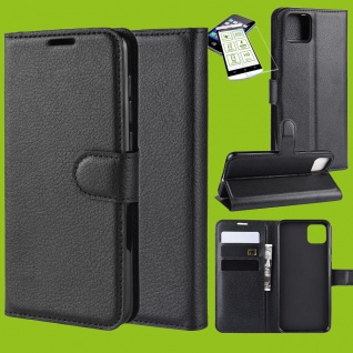 Für Google Pixel 4 XL Tasche Kunst-Leder Schwarz Hülle Etuis Case + H9 Hart Glas