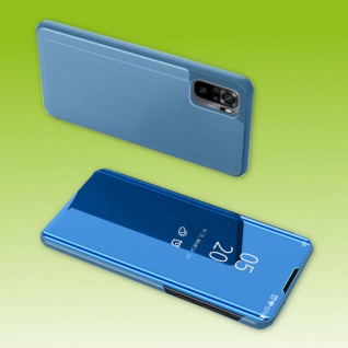 Für Xiaomi Redmi Note 10 / 10s View Smart Cover Hülle Blau Handy Tasche Etuis