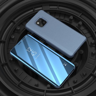 Für Huawei Mate 20 Clear View Smart Cover Blau Tasche Hülle Wake UP Case Etui