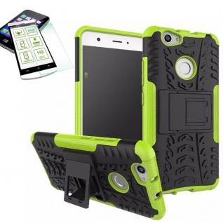 Hybrid Case Tasche Outdoor 2teilig Grün für Huawei Nova + Hartglas Cover Neu