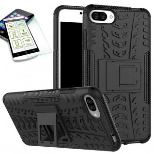 Hybrid Case Tasche 2teilig Schwarz für ASUS Zenfone 4 Max 5.5 ZC554K + H9 Glas