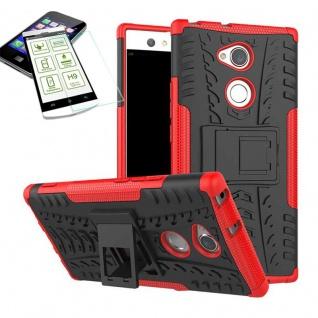 Hybrid Case 2 teilig Rot für Sony Xperia XA2 Hülle + 0, 3 mm H9 Hartglas Tasche