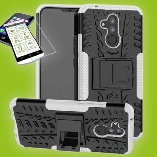 Für Huawei Mate 20 Lite Hybrid Tasche Outdoor 2teilig Weiß Hülle + H9 Glas Case