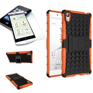 Hybrid Case 2 teilig Orange für Sony Xperia Z5 5.2 Zoll + H9 Panzerglas Tasche