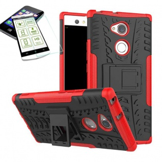 Hybrid Case 2 teilig Rot für Sony Xperia XA2 Ultra + H9 Schutz Glas Tasche Hülle