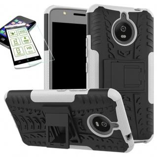 Hybrid Case Tasche 2teilig Weiß für Motorola Moto E4 Plus + H9 Hartglas Hülle
