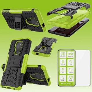 Für Motorola Moto E7 Plus Handy Tasche Cover Hülle Etuis Grün Case + H9 Glas Neu