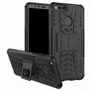 Hybrid Case 2teilig Outdoor Schwarz Tasche Hülle für Huawei Honor 7X Etui Cover