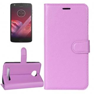 Tasche Wallet Premium Lila für Motorola Moto Z2 Play Hülle Case Cover Etui Neu