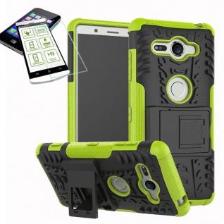 Hybrid Case 2 teilig Grün für Sony Xperia XZ2 Compact + 0, 26 H9 Glas Tasche Neu